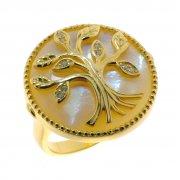 Кольцо женское серебряное 925* позолота перламутр циркон Арт 55 7940