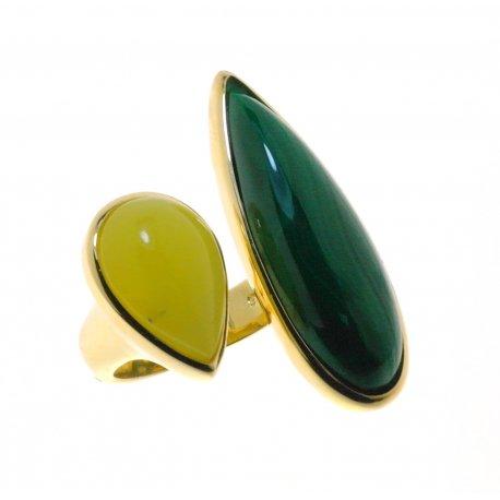 Кольцо женское серебряное 925* позолота малахит жад Арт 55 7612