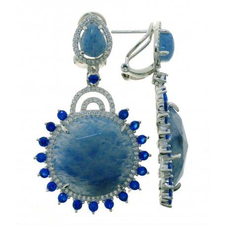 Сережки жіночі срібні 925* родій кварц циркон Арт 11 9600