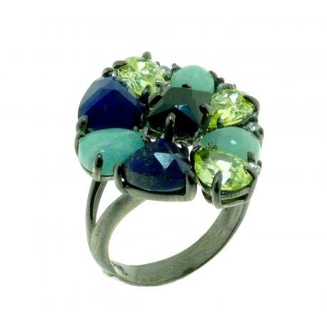 Кольцо женское серебряное 925* чернение амазонит лапис Арт 15 6542-Х