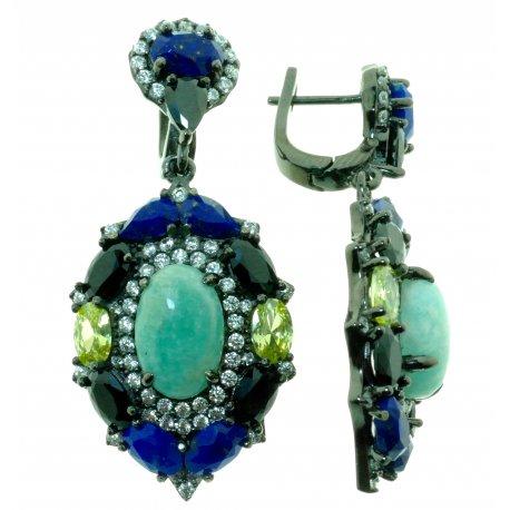 Серьги женские серебряные 925* чернение амазонит лапис цирконий Арт 11 8367А