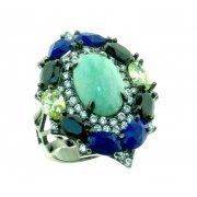 Кольцо женское серебряное 925* чернение амазонит лапис цирконий Арт 15 6969А
