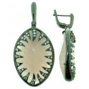 Серьги женские серебряные 925* чернение кварц циркон Арт 11 9129