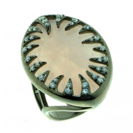 Кольцо женское серебряное 925* чернение кварц циркон Арт 15 7550