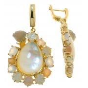 Сережки жіночі срібні 925* позолота агат халцедон кварц Арт 51 9809