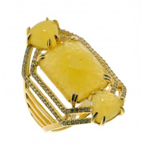 Кольцо женское серебряное 925* позолота кальцит циркон Арт 55 8082