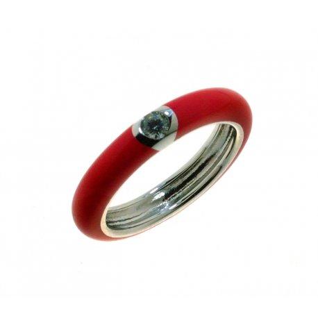 Кольцо женское серебряное 925* родий цветная эмаль цирконий Арт 15 8 0105к