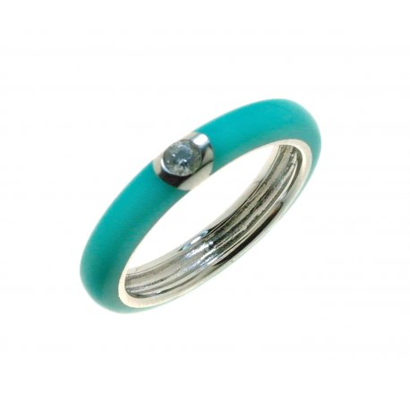 Кольцо женское серебряное 925* родий цветная эмаль цирконий Арт 15 8 0105