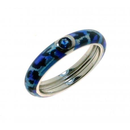Кольцо женское серебряное 925* родий цветная эмаль цирконий Арт 15 8 1202с