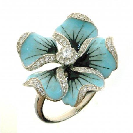 Кольцо женское серебряное 925* родий цветная эмаль цирконий Арт 15 8 3523
