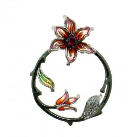 Підвіс жіночий срібний 925* чорніння кольорова емаль цирконій Арт 13 8 1881