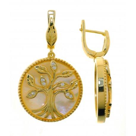 Серьги женские серебряные 925* позолота перламутр циркон Арт 51 9810