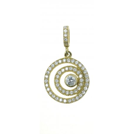 Подвес женский серебряный 925* позолота цирконий Арт 535 121