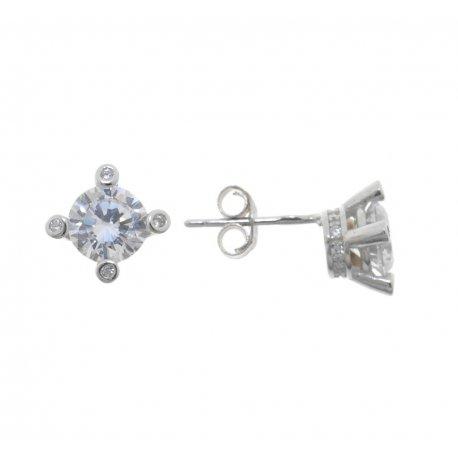 Серьги женские серебряные 925* родий цирконий Арт 115 1 057