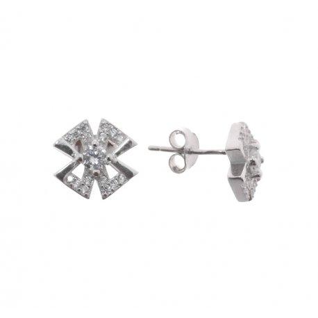 Серьги женские серебряные 925* родий цирконий Арт 115 1 499