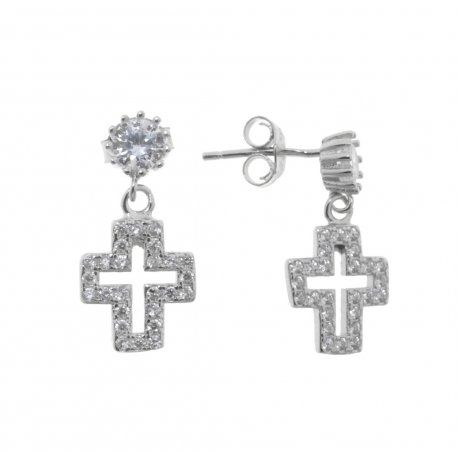 Серьги женские серебряные 925* родий цирконий Арт 115 1 493