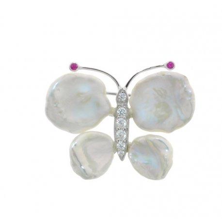 Брошь женская серебряная 925* жемчуг цирконий родий Арт 19 6 0650