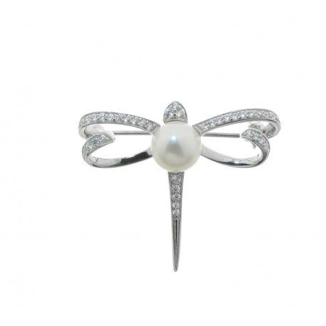 Брошка жіноча срібна 925* культивовані перли цирконій родій Арт 19 6 1028