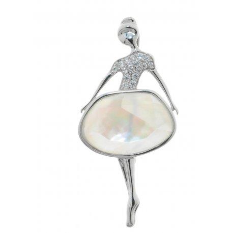 Брошь женская серебряная 925* родий перламутр кварц цирконий Арт 19 6 1302