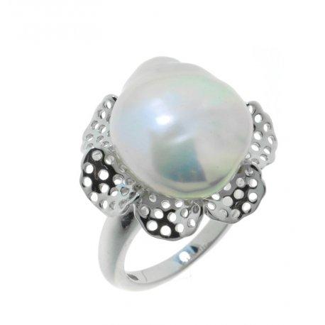 Кольцо женское серебряное 925* родий жемчуг Арт15 6 0346