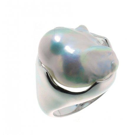 Кольцо женское серебряное 925* родий жемчуг Арт15 6 1556-1