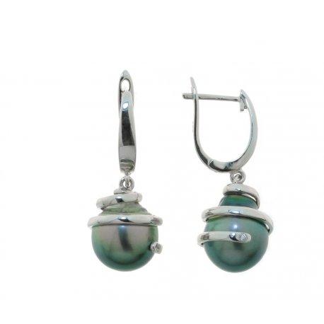 Серьги женские серебряные 925* культивированный жемчуг родий Арт11 6 0347-1