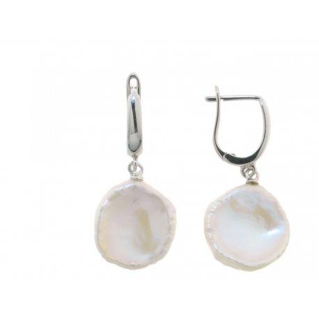 Серьги женские серебряные 925* жемчуг родий Арт11 6 0902-1