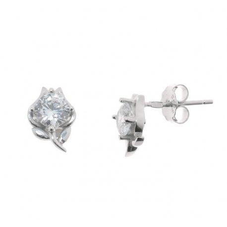 Серьги женские серебряные 925* родий цирконий Арт 115 1 284
