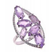 Кольцо женское серебряное 925* родий аметист циркон Арт 15 8072