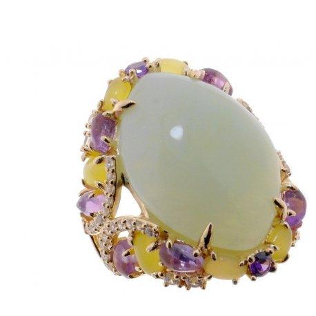 Кольцо женское серебряное 925* позолота жадеит циркон Арт 55 7227
