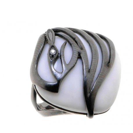 Кольцо женское серебряное 925* чернение оникс циркон Арт 15 6687