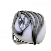Каблучка жіноча срібна 925* чорніння онікс циркон Арт 15 6687