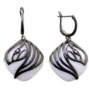 Серьги женские серебряные 925* чернение оникс циркон Арт 11 7893