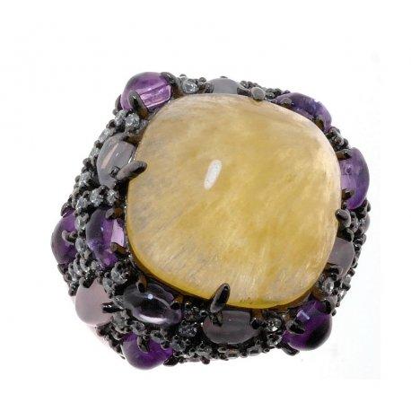 Кольцо женское серебряное 925* чернение кальцит аметист кварц циркон Арт 15 7226