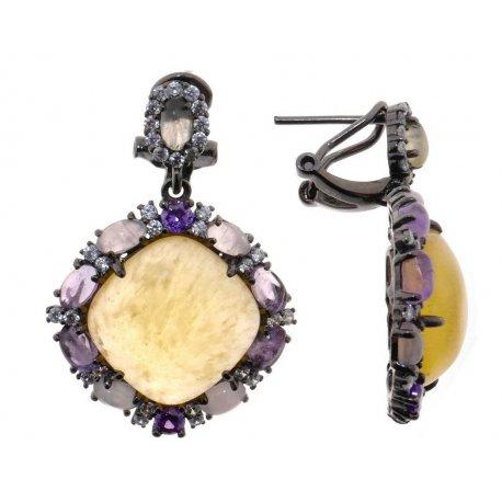 Серьги женские серебряные 925* чернение кальцит аметист кварц циркон Арт 11 8744
