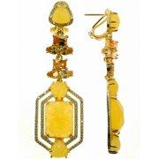 Серьги женские серебряные 925* позолота кальцит циркон Арт 51 9593