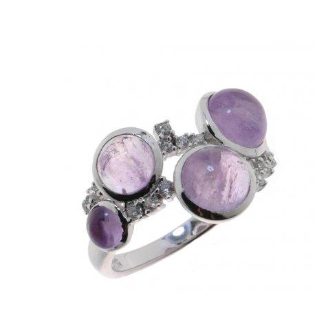 Кольцо женское серебряное 925* родий аметист циркон Арт 15 8089