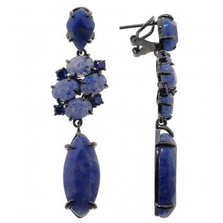 Серьги женские серебряные 925* чернение кварц циркон Арт 11 7839
