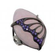 Кольцо женское серебряное 925* чернение кварц циркон Арт 15 6680