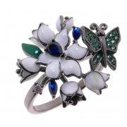 Кольцо женское серебряное 925* чернение цветная эмаль цирконий Арт 15 5 0614ч