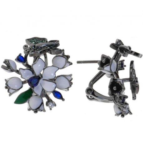 Серьги женские серебряные 925* чернение цветная эмаль цирконий Арт 11 5 0614ч