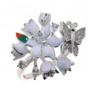Кольцо женское серебряное 925* родий цветная эмаль цирконий Арт 15 5 0614б