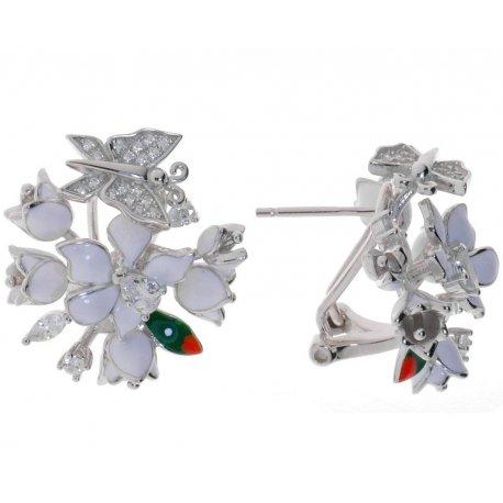 Серьги женские серебряные 925* родий цветная эмаль цирконий Арт 11 5 0614б