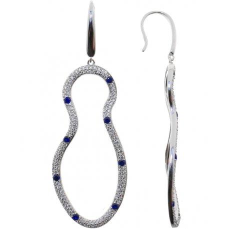 Серьги женские серебряные 925* родий цирконий Арт 11 5 1949