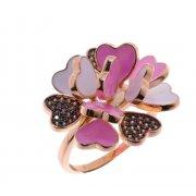 Кольцо женское серебряное 925* позолота цветная эмаль Арт 55 5 1759