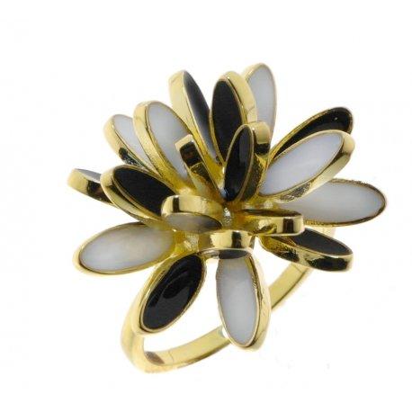 Кольцо женское серебряное 925* позолота цветная эмаль Арт 55 5 1758