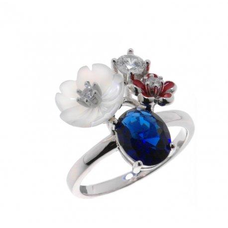 Кольцо женское серебряное 925* родий перламутр эмаль цирконий Арт 15 5 1135