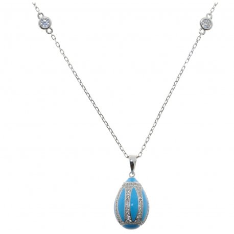 Кольє жіноче срібне 925* родій кольорова емаль цирконій Арт 12 5 2304-40+5