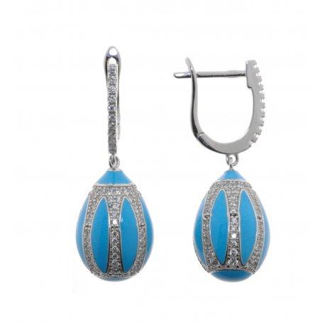 Сережки жіночі срібні 925* родій кольорова емаль цирконій Арт 11 5 2304