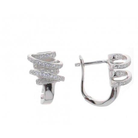 Серьги женские серебряные 925* родий цирконий Арт 11 5 0050